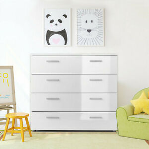 White Gloss 4 Drawer Bedroom Furniture Chest of Drawers Wood Grain Effect Frame