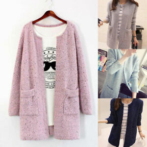 Women Long Sleeve Knitted Cardigan Coat Casual Jacket Sweater Autumn Outwear
