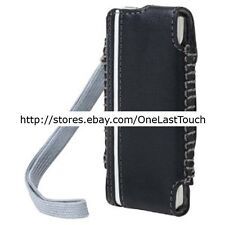 BELKIN CASE for IPOD NANO 1ST+2ND Generation BLACK+WHITE STRIPE Leather HOLSTER