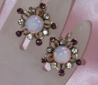 VINTAGE PURPLE, CLEAR, DRAGONS BREATH RHINESTONE STAR SCREW ON BACK EARRINGS