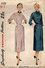 1940's VTG Simplicity Misses'  Dress  Pattern 3326 Size 14