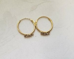 Beautiful Bollywood Style Rhinestone Crystal Hoop Gold Nose Ring Nath One Piece