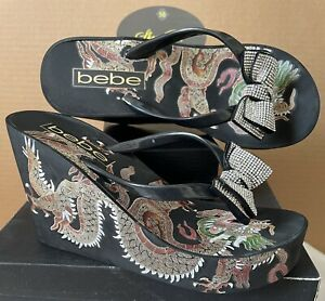Bebe Wedge Platform Thong Flip Flops Sandals Women Size 8M