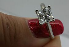 1.5CT SOLITAIRE ENGAGEMENT  PRINCESS CUT RING SOLID 14K WHITE  GOLD FREE SIZING