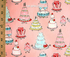 1 Fat Qtr Life Is Sweet WEDDING CAKES Marriage Pastry Confection PINK A Henry