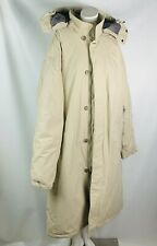 Lands End mens long down filled winter coat jacket size 50 52 tan hooded