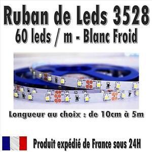 Ruban de Leds 3528 PréCablé - 60 leds / M - Blanc Froid - de 10cm à 5M