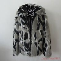 Mens Warm Real Rabbit Fur Jackets Thicken Warm Coat Slim Fit Hood Collar