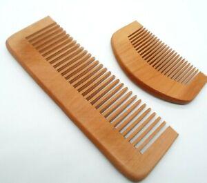 Wooden Beard Comb Coarse & Fine Teeth Moustache & Beard Grooming Large & Small