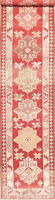 Vintage Turkish Oushak Wool Runner Rug Geometric Handmade Oriental Carpet 3'x13'