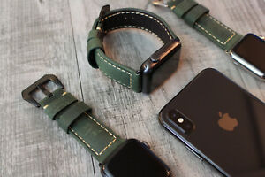 For Apple Watch Series 7 6 5 42mm 44mm 45mm Green Bull Leather Strap iwatch Band
