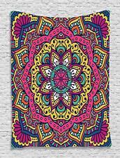 Ambesonne Ethnic Mandala Tapestry, Geometric Floral Meditation Psychedelic 40x6