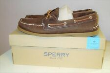 Sperry Mens A/O 2-Eye Cross Lace Boat Shoes in Brown Men's Size 10 M