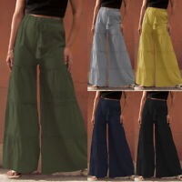 Women Elastic Waist Wide Leg Drawstring Pant Casual Loose Tiered Layered Trouser