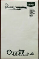 Ozark Air Lines, St. Louis, New Martin 404 Service, Vintage Airline Note Pad