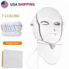 7 Colors LED Light Photon Face Neck Mask Rejuvenation Facial Therapy Wrinkle US