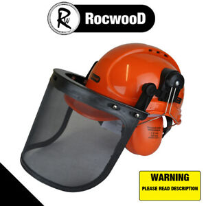 Forestry Chainsaw Safety Helmet RocwooD Hat Ear Defenders Metal Visor