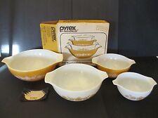 Vintage 4Piece Set Pyrex Butterfly Gold Cinderella Mixing Nesting Bowls NIB