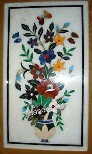 15 x 24 Inches Marble Coffee Table Top Inlay Center Table with Floral Design