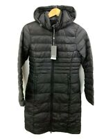NWT Sears Womens Ultra Light Down Jacket Size Small 4-6 Packable Hood Gray Long