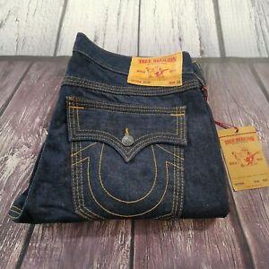 Men's True Religion Jeans 38 Waist 33 Leg Jack Relaxed Straight Fit Blue £165