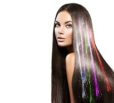 200 Mixed Colour LED Hair Extensions Light Up Party Barrettes Fibre Optic Clip