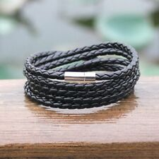 Cool Men Black Leather Multilayer Punk Bracelet Braided Bangle Wristband Jewelry