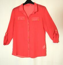RASPBERRY RED LADIES CASUAL TOP BLOUSE SHIRT 13-14 YEARS 164CM F&F CHEST 86CM