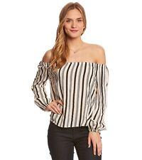 2017 NWT WOMENS BILLABONG MI AMORE L/S PEASNT BLOUSE $50 M black/white striped