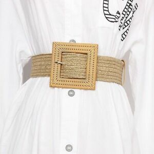Womens Elastic Belt Bohemia Girdle Square Bucklet Braided Geometric Woven Strap