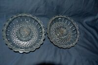 "Vintage Pair Pressed Glass Taper Candle Holders 4 ¼""'x 3/4"" Diamond Design"