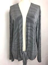 Chicos Travelers Open Front Tie Waist Jacket Size 3 Acetate/Spandex Grey (2)