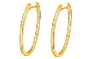 Abbey Clancy 9ct Gold Plated Sterling Silver CZ Hoop Earrings, RRP £44.99