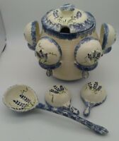 Soup Tureen Punch Bowl w/ Lid, Ladle, 8 Hanging Cups Painted Bluebonnets Pottery