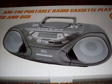 QFX J-33U AM/FM Portable Radio Cassette Player w/CD
