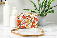 Tory Burch (75338) Britten Floral Printed Pebbled Leather Chain Wallet Crossbody