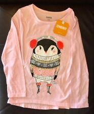 Gymboree embellished long-sleeve pink penguin shirt, S 5-6, NWT