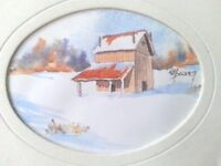 FINE ART WATERCOLOR PAINTING IN  PAPER SMALL WINTER LANDSCAPE SIGNED K M PICKETT