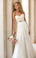2015 Custom New Ivory/White Chiffon Beach Wedding Dress Gown Size Bride Gown