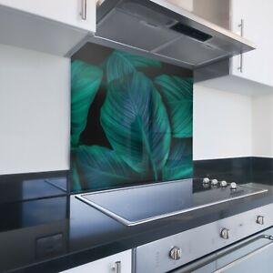 Toughened Printed Kitchen Glass Splashback - Bespoke Sizes - Tropical Leaf 261