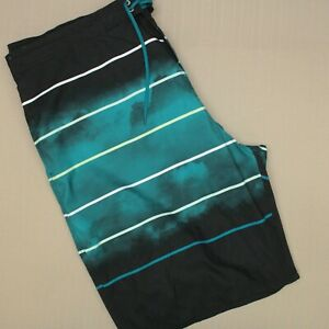 Roundtree & Yorke Swim Trunks Men's Size 2XB Green Black Striped Mesh Lined NWT