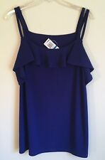 INC International Concepts NEW Sleeveless Top Double Strap Ruffle Front Blue XL