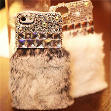 Luxury Bling Rabbit Fur Diamond Crystal Rhinestone Case Cover For Cell Phones