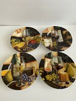 Collectible Cypress Home Wine Motif Appetizer Or Salad Plates Set Of 4