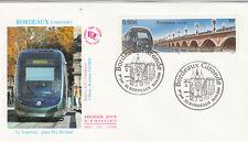 Enveloppe 1er Jour BORDEAUX 2004 tramway place Pey Berland timbrée