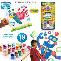 Crayola Kids 7ml 18 Washable Paint & Brush Set Childrens Painting Art Crafts Kit