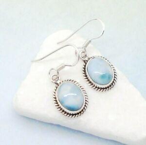 Larimar oval blau hell Design Ohrringe Ohrhänger Haken 925 Sterling Silber neu