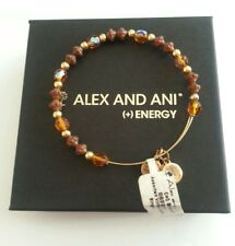 Alex and Ani VINTAGE AMBER and Brown and Gold Colored Beaded Bangle AA Box NWT