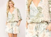 GiGiO By UMGEE Casual Lined Romper Tie Dye Print Wrap Kimono Shorts One Piece