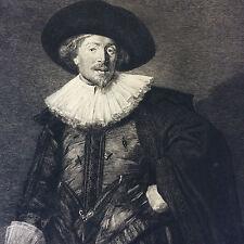 Pointe sèche portrait Michel de Waal gravé par Achille Gilbert cira 1880